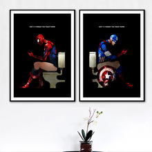Spiderman Toilet Nordic Poster Bathroom Wall Pictures Art Prints Captain Wall Art Canvas Painting Posters And Prints Unframed цена и фото