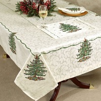 Table Cloth Christmas Tree Printed Fabric Jacquard Tablecloth 60 X 120 Oblong