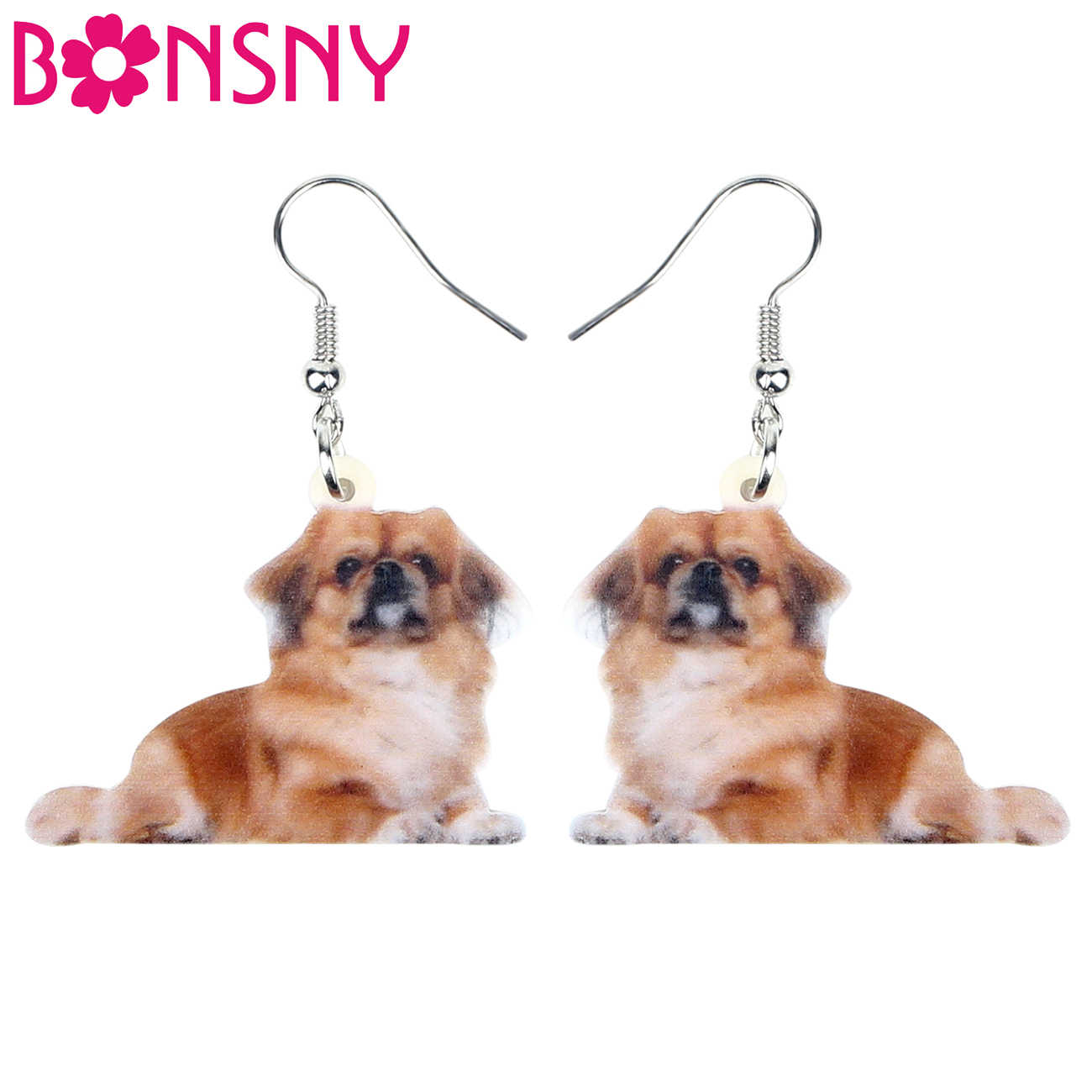 Bonsny Statement Acrylic Japanese Chin Dog Earrings Drop Dangle Cute Animal Jewelry For Women Girls Gift Charms Accessories 2019