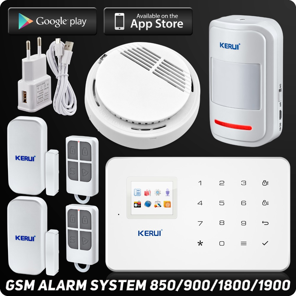 ФОТО IOS Android APP Control 850/900/1800/1900MHz Wireless GSM Home Voice Alarm System Wireless Smoke Detector