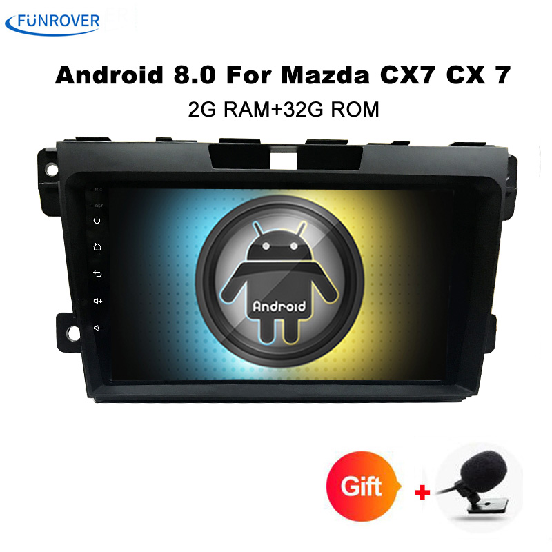 Funrover 9 Android 8.0 Car DVD radio stereo Player For Mazda CX7 CX 7 CX 7 2008 2015 with 1024*600 screen WIFI BT GPS Canbus FM