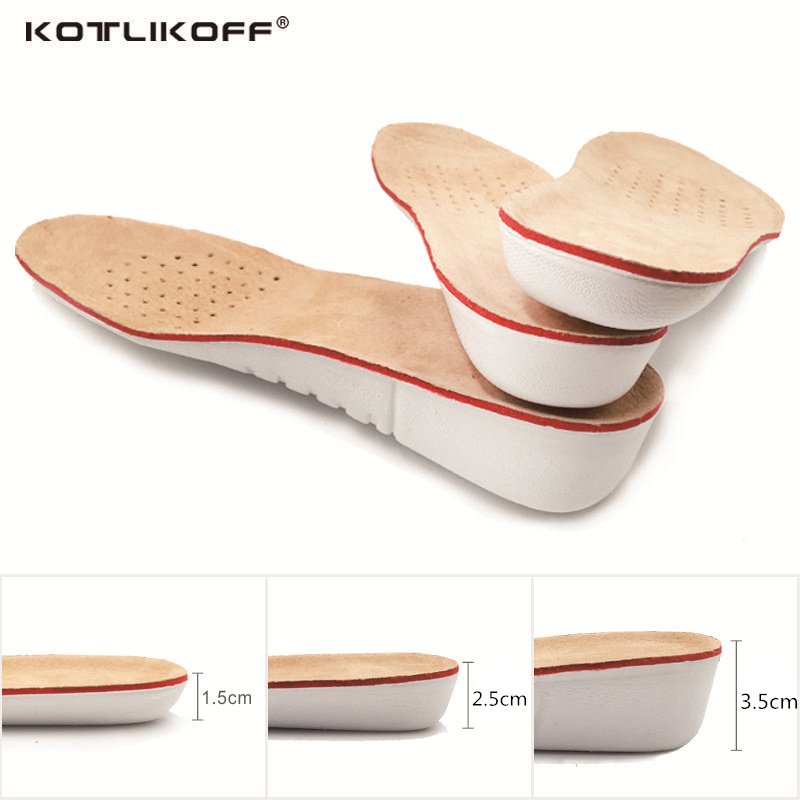 KOTLIKOFF Height Increase Insole EVA Pigskin Insoles Gel Insoles Flat Foot Silicone Soles Gel Orthopedic Shoe pad Lift Increase expfoot orthotic arch support shoe pad orthopedic insoles pu insoles for shoes breathable foot pads massage sport insole 045