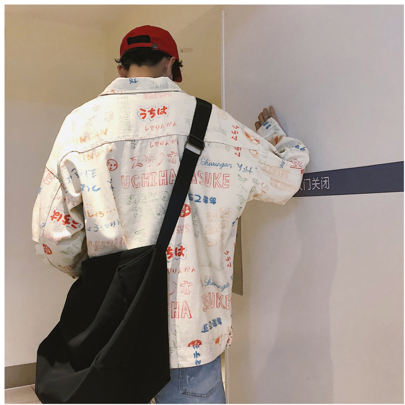 Fashion Casual Men's Jacket Spring And Autumn New M 2XL Printing Lapels Loose Shirt Jacket Beige Personality Youth Popular