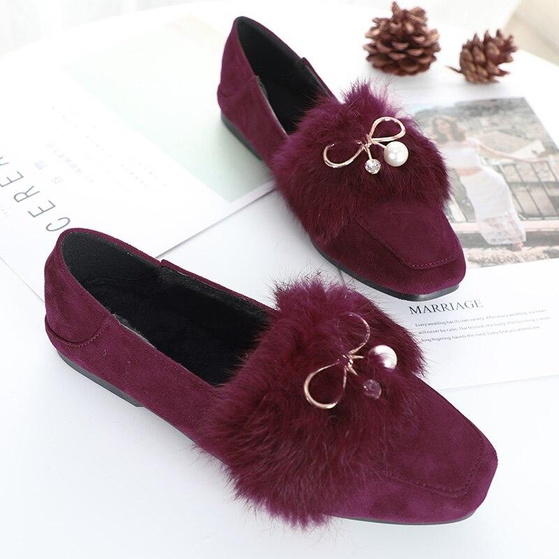 Strass Taille Rouge Nouvelle Hyoma Femme Zapatos Chaussures Confortable rose De Femmes Noir Perle coréen Fourrure vin Rose La Mujer Plus Noir Appartements AvnZqw