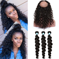 360 Lace Frontal Closure With Bundles Loose Wave Peruvian Virgin Hair With Frontal Closure Preplucked 360 Lace Virgin Hair Weave