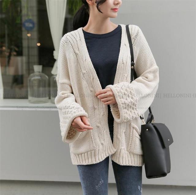 Cardigan. delle Donne 2017 Primavera e Autunno Nuova moda maglione casuale ampie  maniche allentato giacca 4e7aefa3b59
