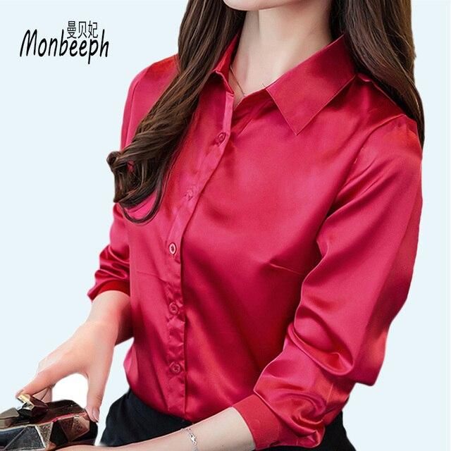 9d9ec511479 plus size 3XL Women silk satin blouse button long sleeve lapel ladies  office work shirts elegant female satin silk blouses shirt