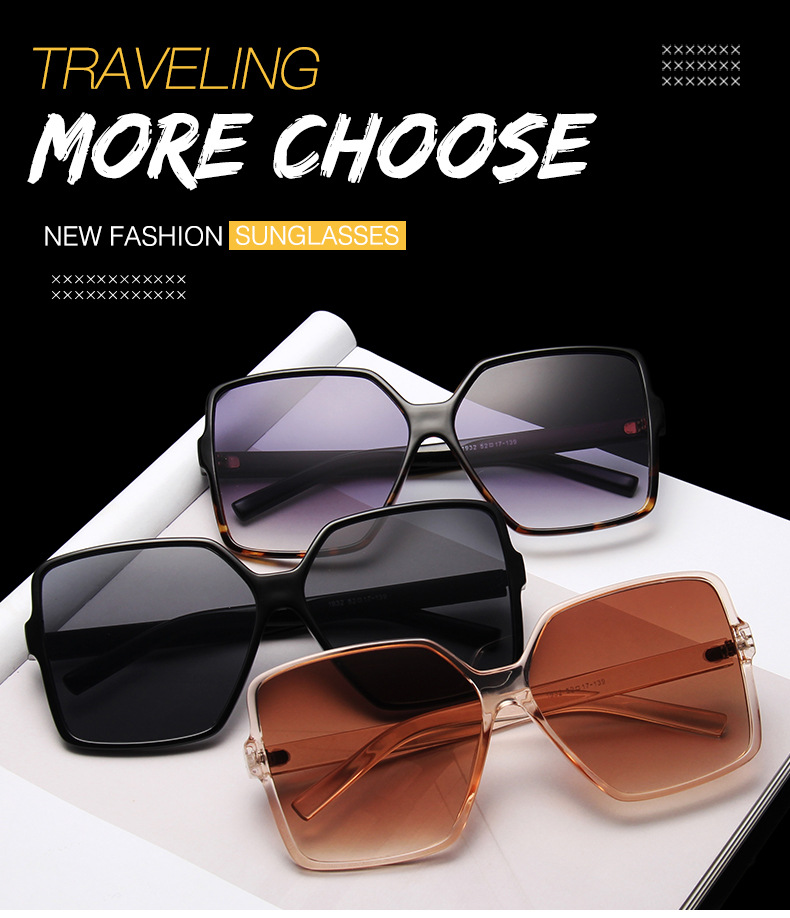 Higody Fashion Women Oversize Sunglasses Gradient Plastic Brand