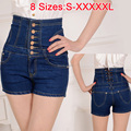 2017 Female Short Femme Women Summer Plus Big size 5XL XXXXXL Ladies' Breasted Lace High Waist Denim Jeans Shorts Cortos mujer