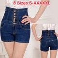 2017 Female Short Femme Women Summer Plus Big size 5XL XXXXXL Ladies' Breasted Lace High Waist Denim Jeans Shorts Cortos mujer