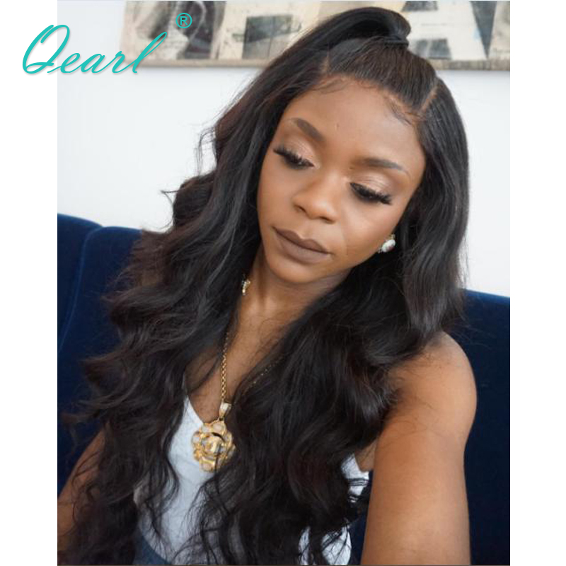 Qearl Hair Natural Color 150% Density Body Wave Full Lace Wigs Brazilian Body Wave Human Hair Wigs with Baby Hair