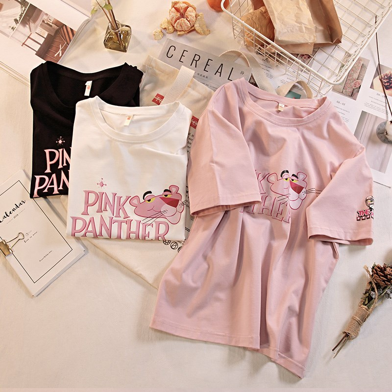 T-shirts For Women Cotton Short Sleeves Pink Panther Print Top Tees Ladies Cartoon T Shirts Female Summer Casual T-shirt