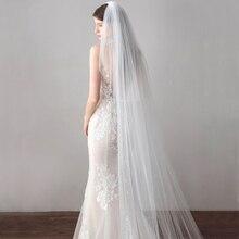 Длинная Вуаль 3 метра, Соборные Свадебные вуали с Край свадебная Фата с расческой свадебные аксессуары невесты Мантилья свадебная вуаль