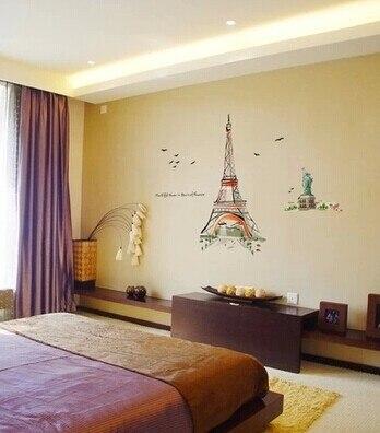 stiker dinding kamar tidur dekorasi rumah menara eiffel tv