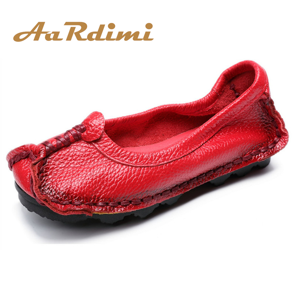 AARDIMI Handmade Genuine Leather Women Shoes Retro Solid Slip On Flats Shoes Spring & Autumn Vintage Mother Shoes WomanAARDIMI Handmade Genuine Leather Women Shoes Retro Solid Slip On Flats Shoes Spring & Autumn Vintage Mother Shoes Woman