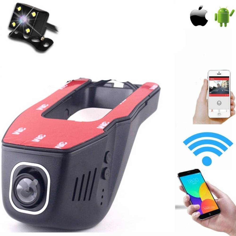 все цены на two channel car wifi DVR mobile phone car WIFI Camera dual car black box vehicle drive recorder camcorder онлайн