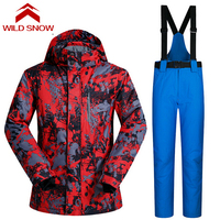 Wild Snow Men Outdoor Ski Winter Waterproof Thermal Warm Jackets Pants Hiking Outdoor Suit Jacket Snowboard