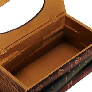 Image 3 - PQZATX רטרו סגנון ספר צורת רקמות BoxMin תיבת רקמות תיבה מפוארת אירופה Retangle מפית נייר בעל טבעת רקמות תיבת אחסון