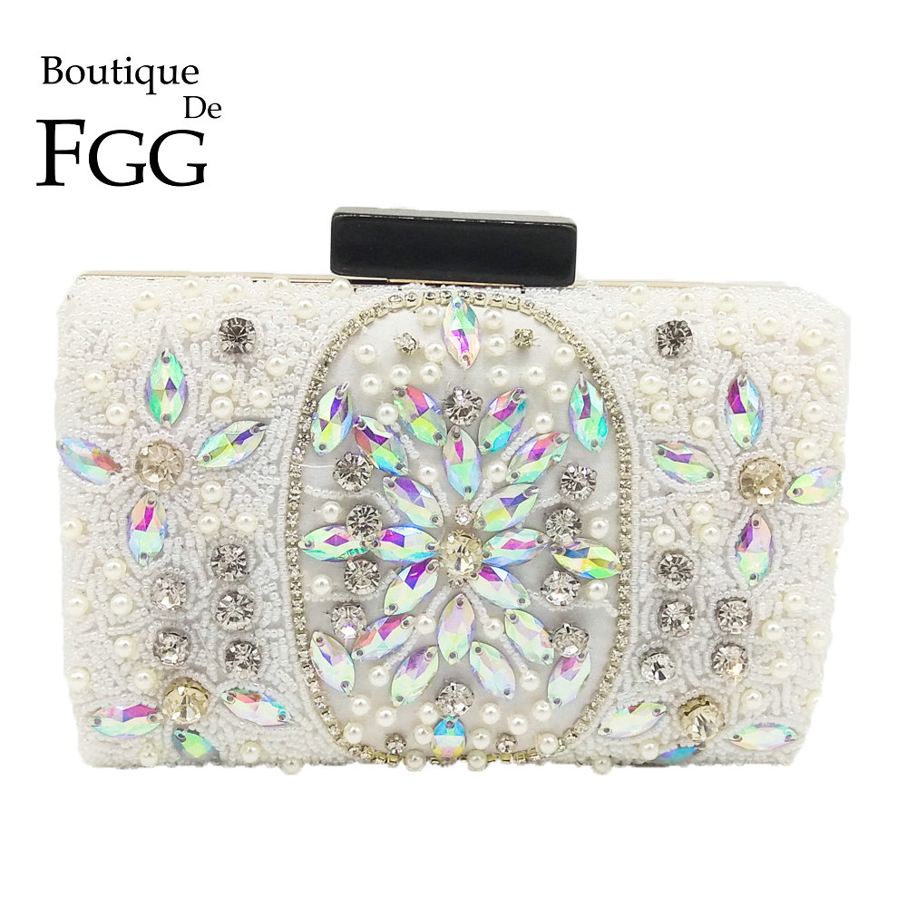 Boutique De FGG Graceful White Beaded Women Metal Clutch Bag Evening Party Purse Wedding Bridal Beading Box Minaudiere HandbagBoutique De FGG Graceful White Beaded Women Metal Clutch Bag Evening Party Purse Wedding Bridal Beading Box Minaudiere Handbag