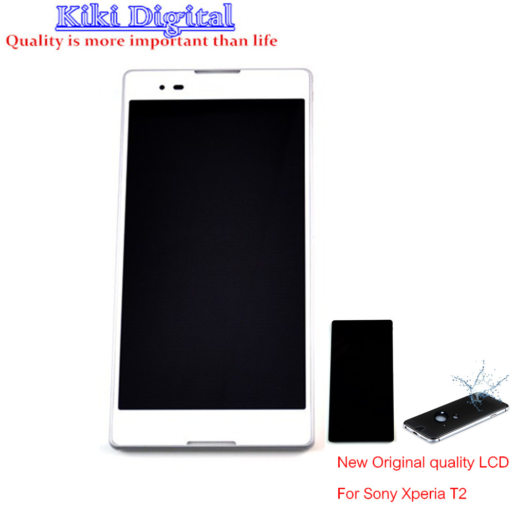 WOJOQ Original quality LCD display For Sony T2 Ultra Dual D5322 XM50h Touch screen digitizer assembly with Frame