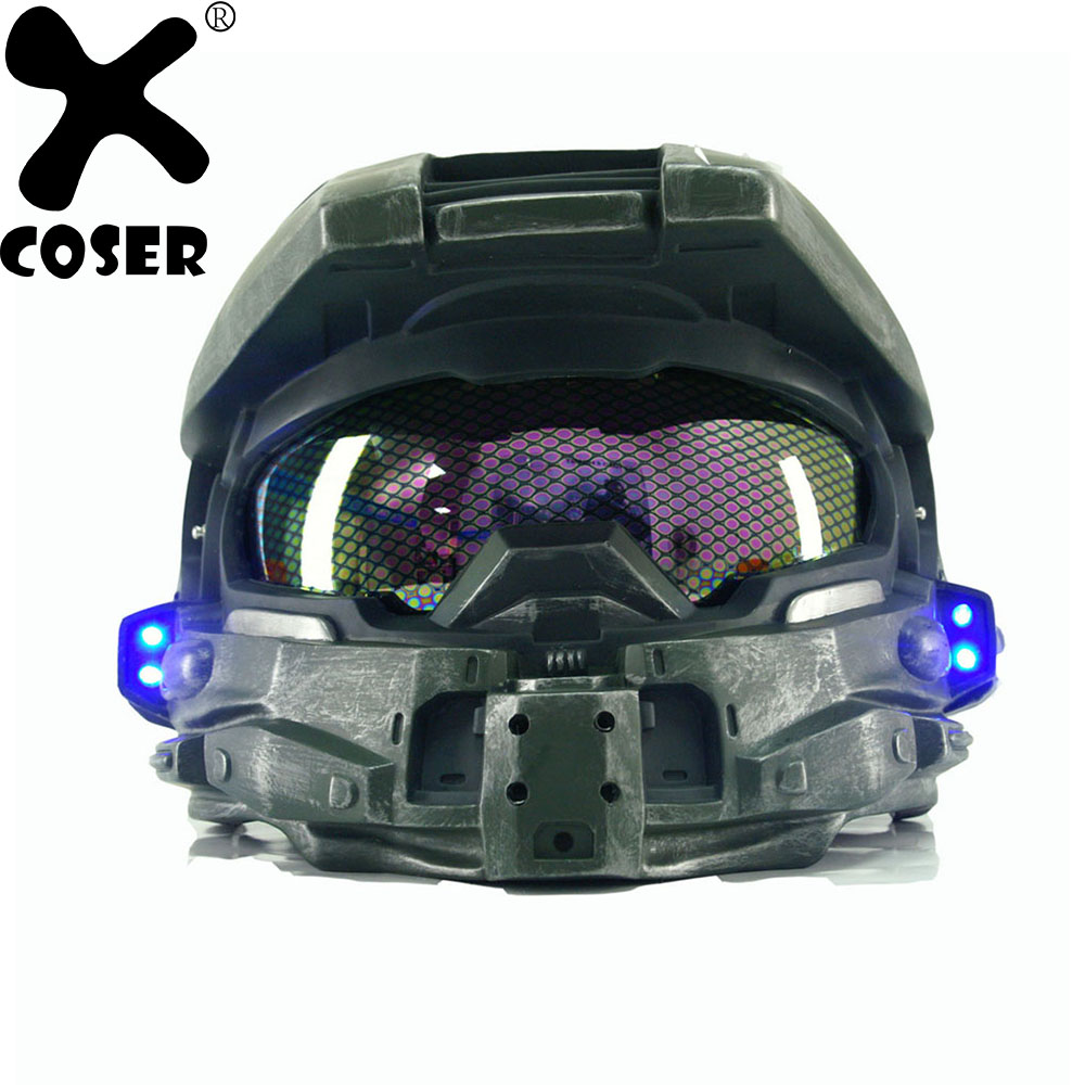 XCOSER Halo 4 Master Chief Casque Cosplay Props Hommes Cool jeu Cosplay Plein Visage Masque Casques Avec Led Lumière Classique Version