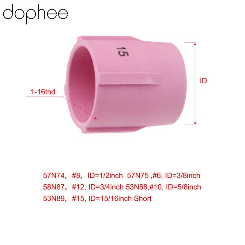 Dophee TIG dysza z tlenku glinu gaz obiektywu 53N89 15 # pasuje do spawania palnika TIG materiały eksploatacyjne do duży obiektyw gazowy konfiguracja w 9/17/18/20/26 5 sztuk