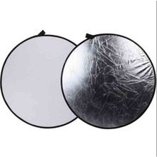 SUPON Photography 43″ 110cm 2 in 1 Light Mulit Silver/White Collapsible disc Reflector