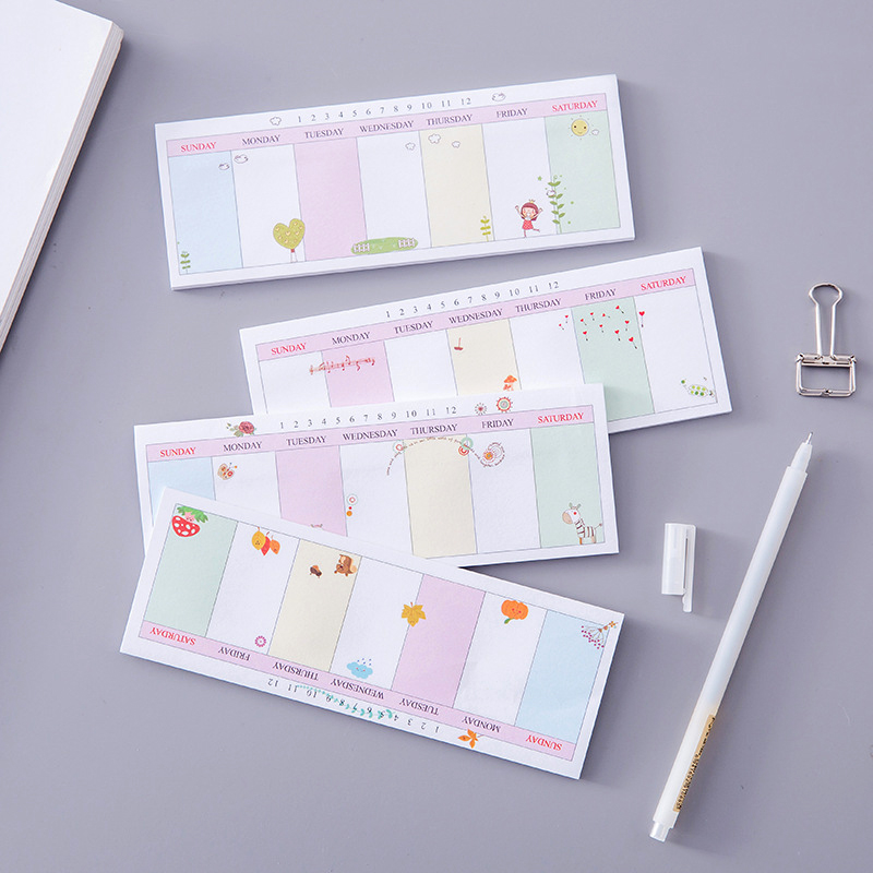 Cute Mini Weekly Planner Agenda 2019 School Office Stationery Cartoon Paper Note Diary Memo Pad Girl Student Supplies