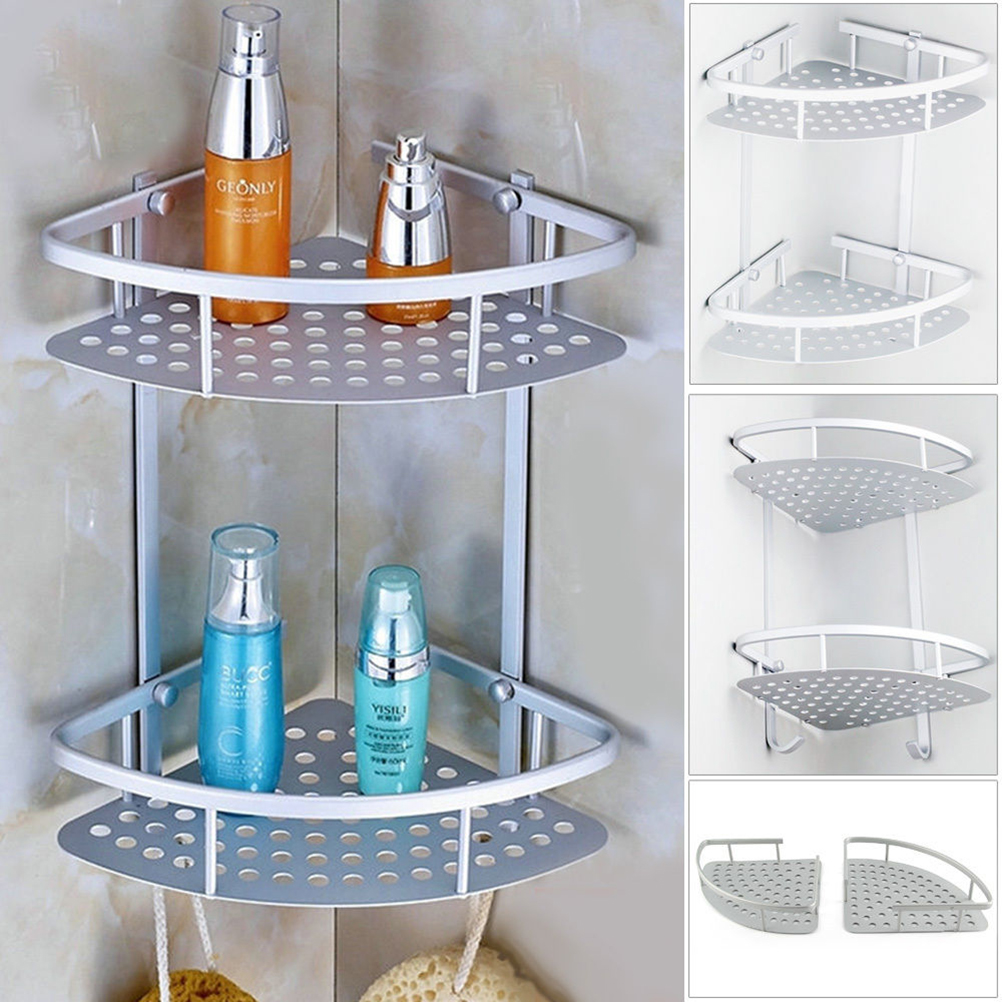 Aluminum 2 tier Wall Shelf Shower Shelf Shampoo Holder Shower Caddy ...