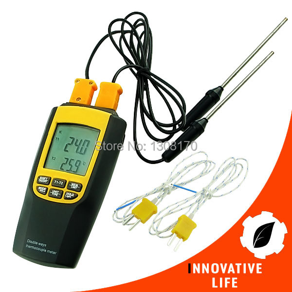 Industrial Digital K / J Type Thermocouple Thermometer 4 Probes Celsius / Fahrenheit Temperature Tester 0 1300 cetigrade industrial thermocouple k type temperature sensor 0 1300c temperature probe