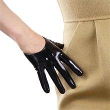 05c7ef3a53c08 En Cuir verni Style Court gants pour femme Émulation Véritable En Cuir Sans  Doublure Français Gothique