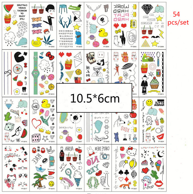 54 Sztukzestaw Kolorowe Wodoodporne Tymczasowe Tatuaże Kobiety Dzieci Dzieci Diy Naklejki Zegarek Kot Karton Fałszywy Tatuaż Naklejki