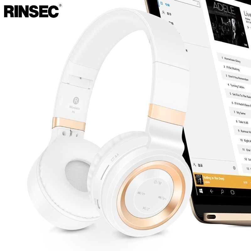 Rinsec P6 Wireless Bluetooth Headphones with TF Card Slot Microphone Stereo Music Playing for iPhone Android Phone ks 508 mp3 player stereo headset headphones w tf card slot fm black