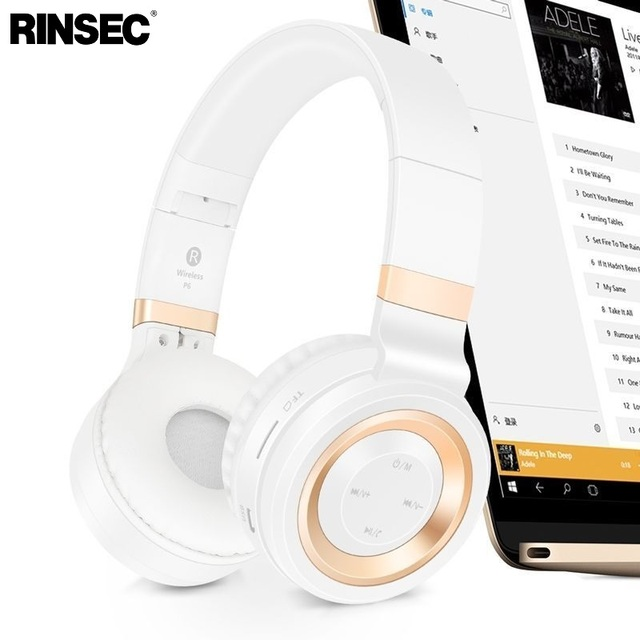 Rinsec P6 Wireless Bluetooth Headphones with TF Card Slot Microphone Stereo Music Playing for iPhone Android Phone