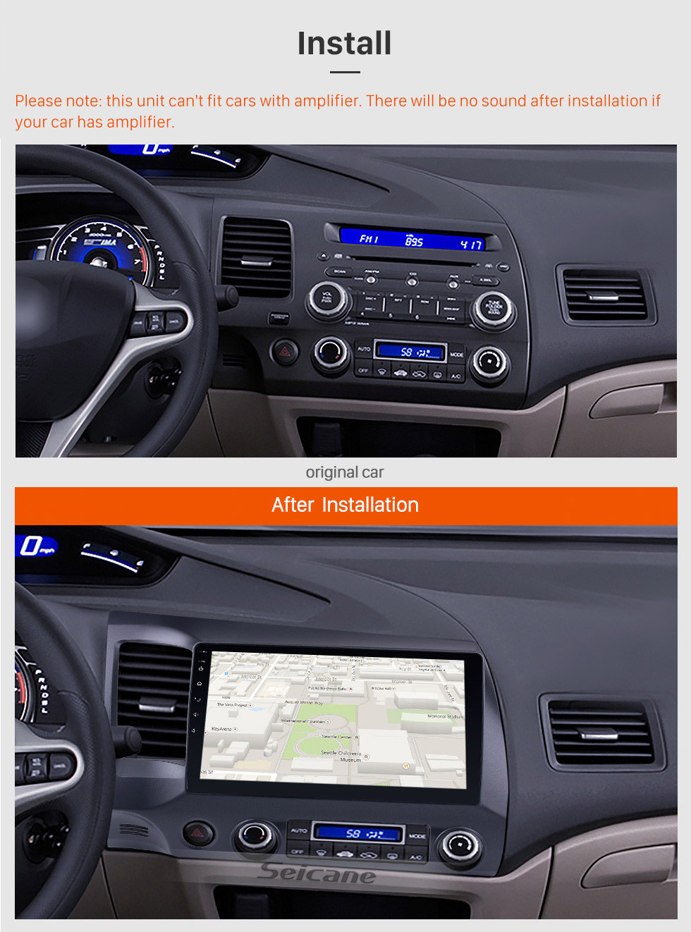 Seicane 10 1 inch Android 7 1/ Android 8 1 Car GPS Navigation Radio Unit  Player for 2006 2007 2008 2009 2010 2011 Honda Civic