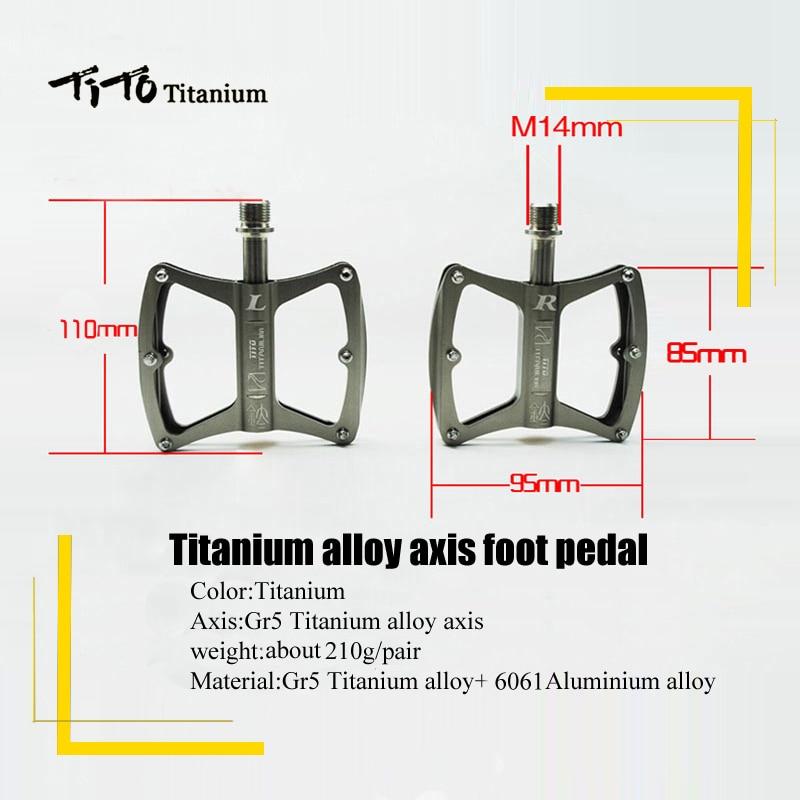 TiTo Ultralight Titanium MTB/Road Bike Axis Pedals Titanium Bicycle Pedals Axis Cycling Platform CNC 1 Pair Titanium Pedal
