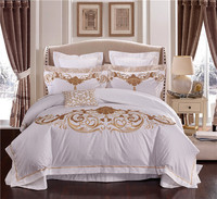 100S Egypt Cotton Embroidery White Color King Queen size Bedding sets wedding Luxury Bed set Duvet cover set Bedspread Linen