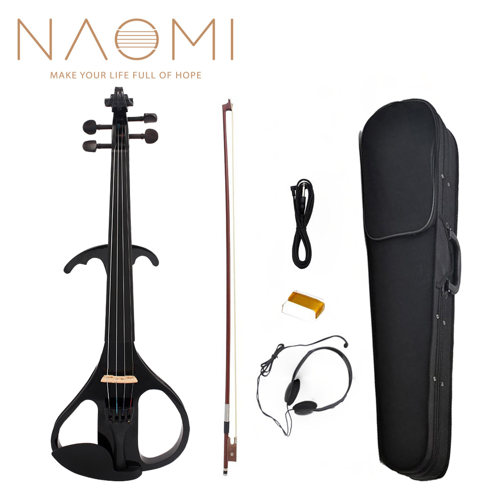 NAOMI Electric Violin Balance Sound Full Size 4/4 Electric Violin Fiddle Solid Wood Electric Violin NEW SET Black Style 3NAOMI Electric Violin Balance Sound Full Size 4/4 Electric Violin Fiddle Solid Wood Electric Violin NEW SET Black Style 3