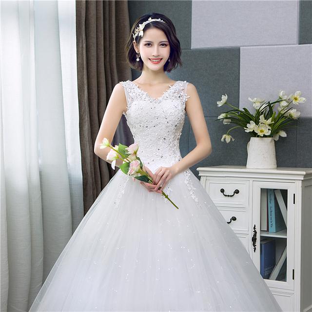 Korean Style V-Neck Lace Tank Sleeveless Floral Print Ball Gown Wedding Dress New Fashion Simple estidos de noivas CC