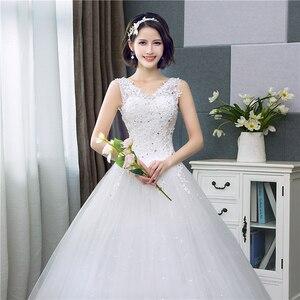 Image 5 - Koreanischen Stil V ausschnitt Spitze Tank Ärmelloses Blumen Druck Ballkleid Hochzeit Kleid 2020 Neue Mode Einfache estidos de noivas CC