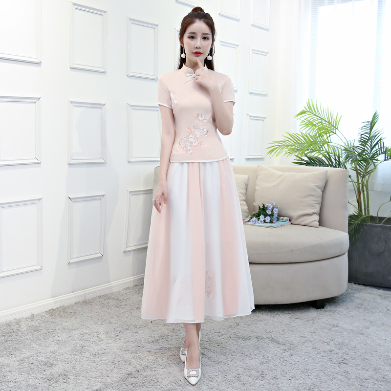 Femmes Pc baby D'été Printemps S Robe Blanc Nouveau Cheongsam Ensembles Chinois 2 Mandarin xxl Col Chemise Style Jupe Fleurs Pink Traditionnels Blouse SEqRRwxv