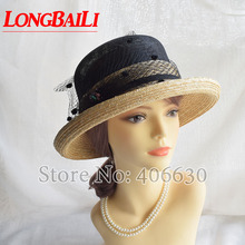 LongBaiLi Summer Elegant Sinamay and Wheat Straw Patchwork Sun Hat For Women Bucket Caps Free Shipping SWDS055