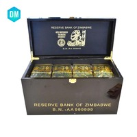 Wholesale Zimbabwe One Hundred Trillion Dollar Gold Banknote 1000pcs 24k Bill with High Grade Wooden Box Feeshipping By Fedex