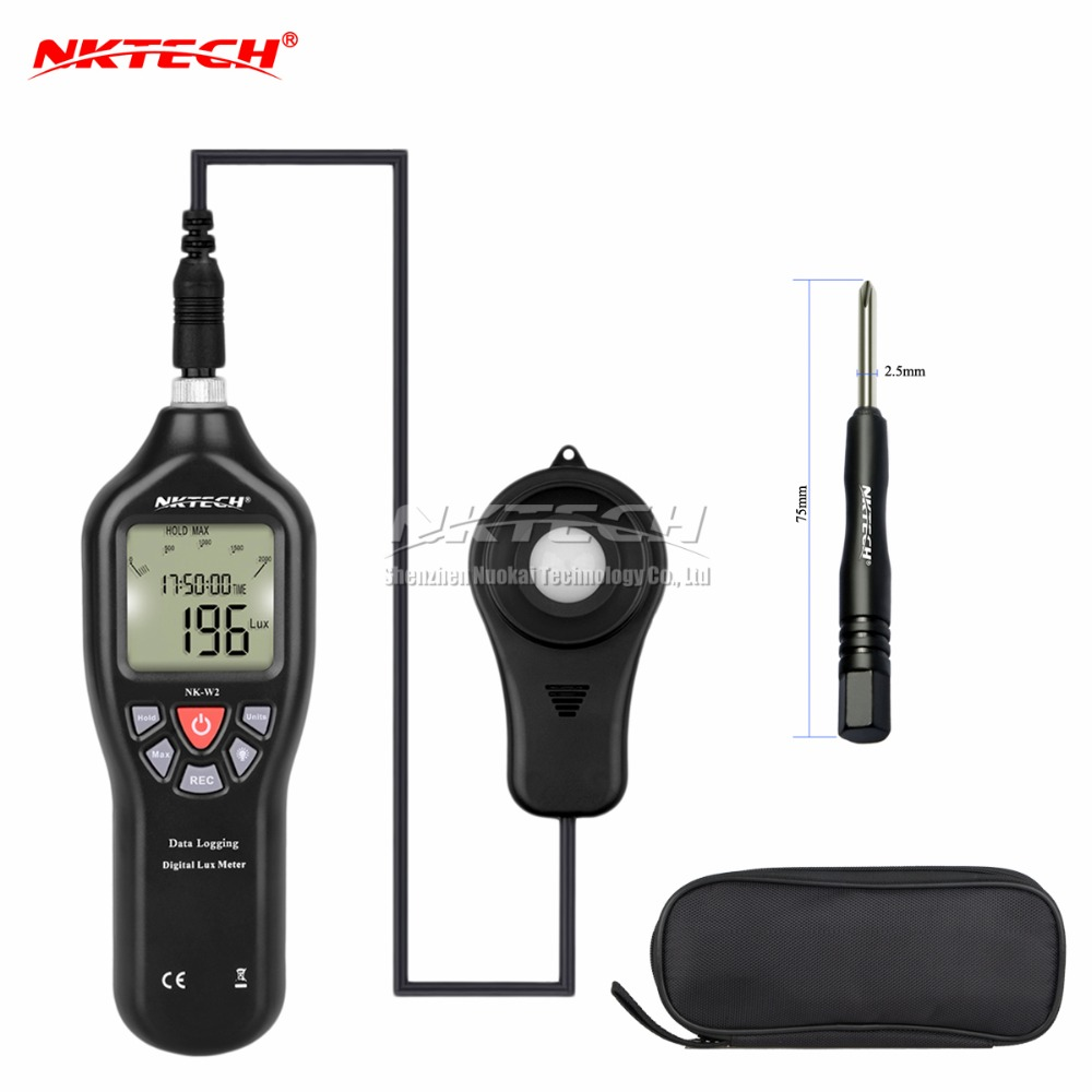 NKTECH NK-W2 Auto Digital Luxmeter FC Light USB Data Logger Lux Meter Support PC Record Measure Range 0.1 to 200,000 Lux/FC smart sensor ar823 digital light lux meter 200 000lux luxmeter luminometer photometer lux fc