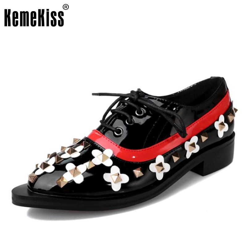 ФОТО Size 32-43 Fashion Women's Cross Strap Flat Shoes Women Mixed Color Rivets Patent Leather Flats New Design Casual Footwear