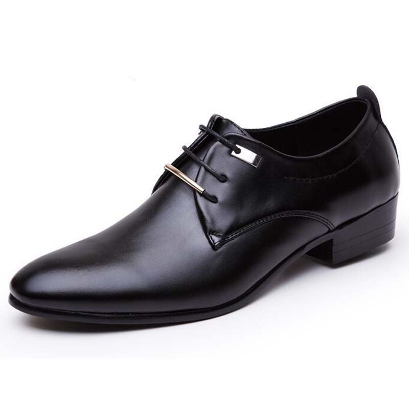 2019 Fashion Casual Dress Men Shoes High-quality Shoes Leather Formal Dance Mens Tip Head Bright Leather Mesh Business Leather Shoe 2018 New Men's Shoes Formal Shoes