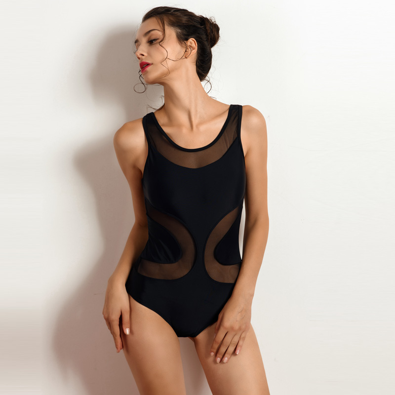 Riseado New Sexy Mesh One Piece Swimsuit Female Swimwear Women Solid - Sportswear and Accessories - Photo 3