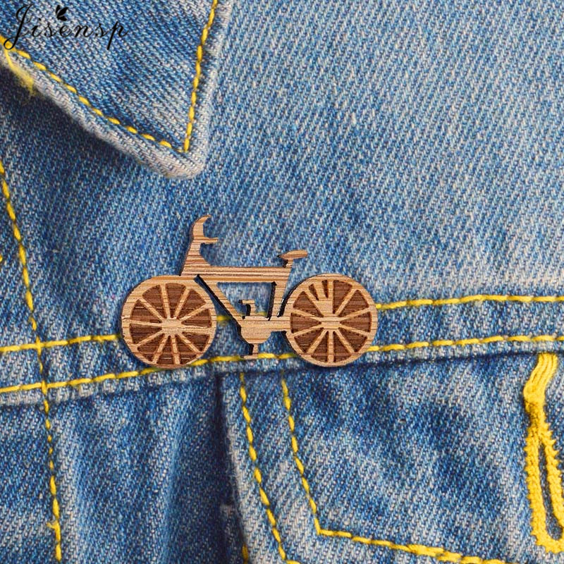 BICYCLE BROOCH ready to give, gift box, solid Beech wood brooch, solid wooden engraved pin, perfect Christmas gift idea, Birthday gift idea