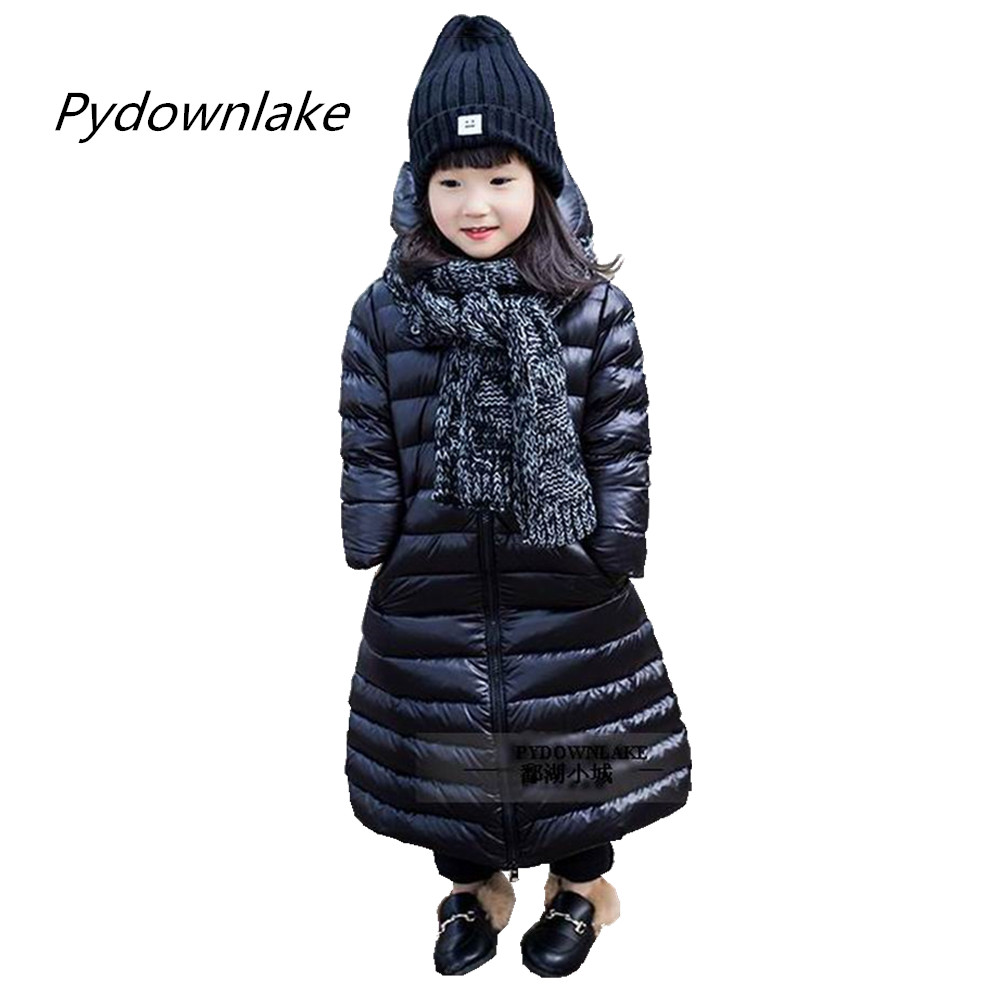 Pydownlake Baby Boy Clothes Winter Coats Down Coat Solid Black Color Hooded Collar Outerwear 2017 Girls Winter Kids Clothes new winter women long style down cotton coat fashion hooded big fur collar casual costume plus size elegant outerwear okxgnz 818