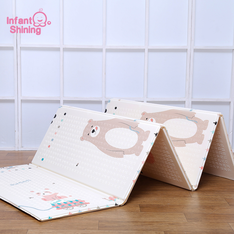 Infant Shining 1 5CM Thickness Playmat Foldable Baby Play Mat 200 180CM Large Child Crawling Mat